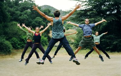 A group working out