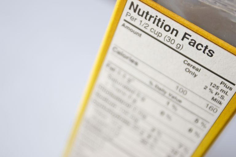box of food with close up of nutrition facts