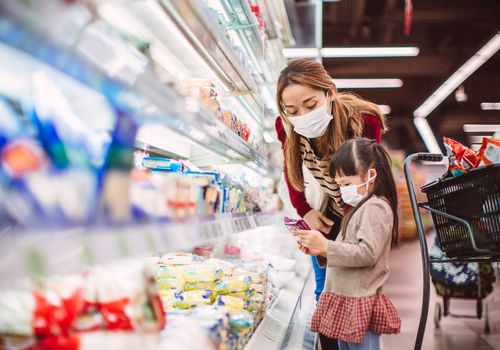 mom and daughter grocery shopping during COVID-19 pandemic