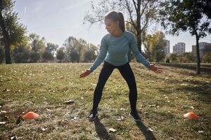 woman doing side shuffle