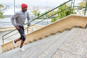 High angle view of man running on steps