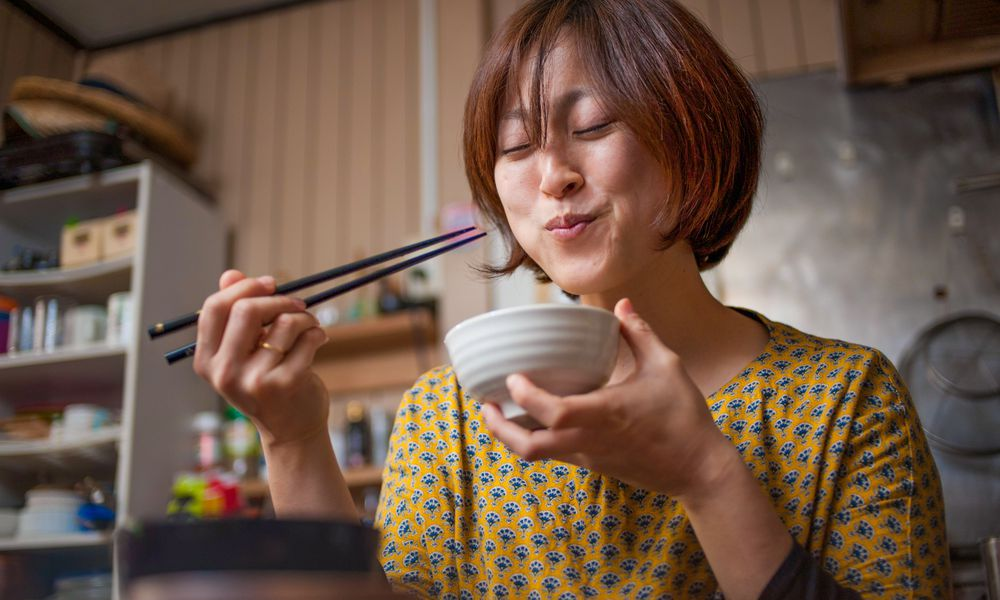 Japanese woman eating