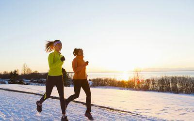 Two women winter running