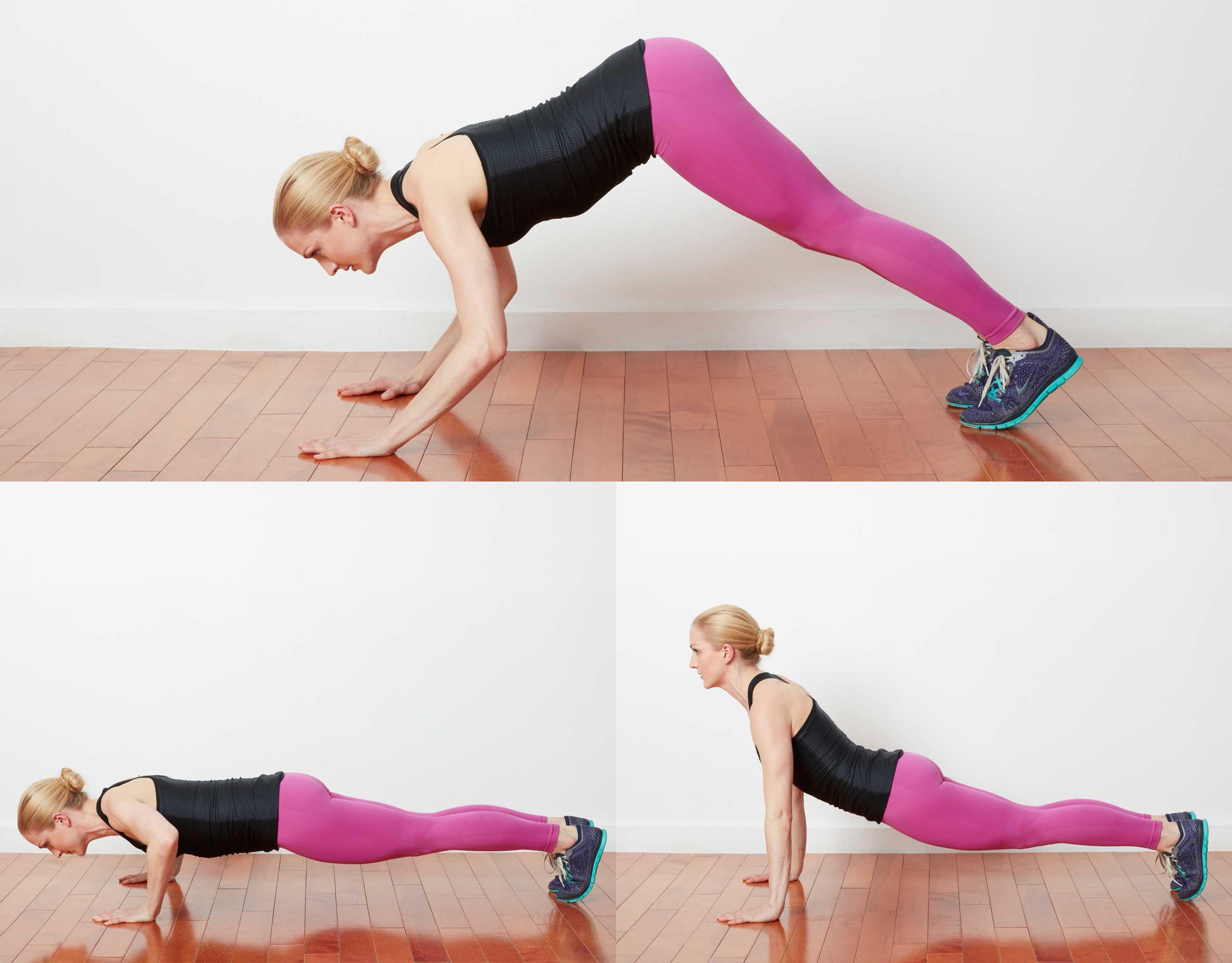Woman doing divebomber pushups