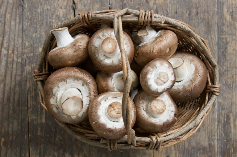 basket of mushrooms on wooden table