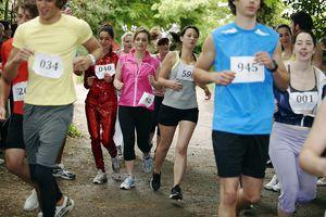 Runners racing in marathon
