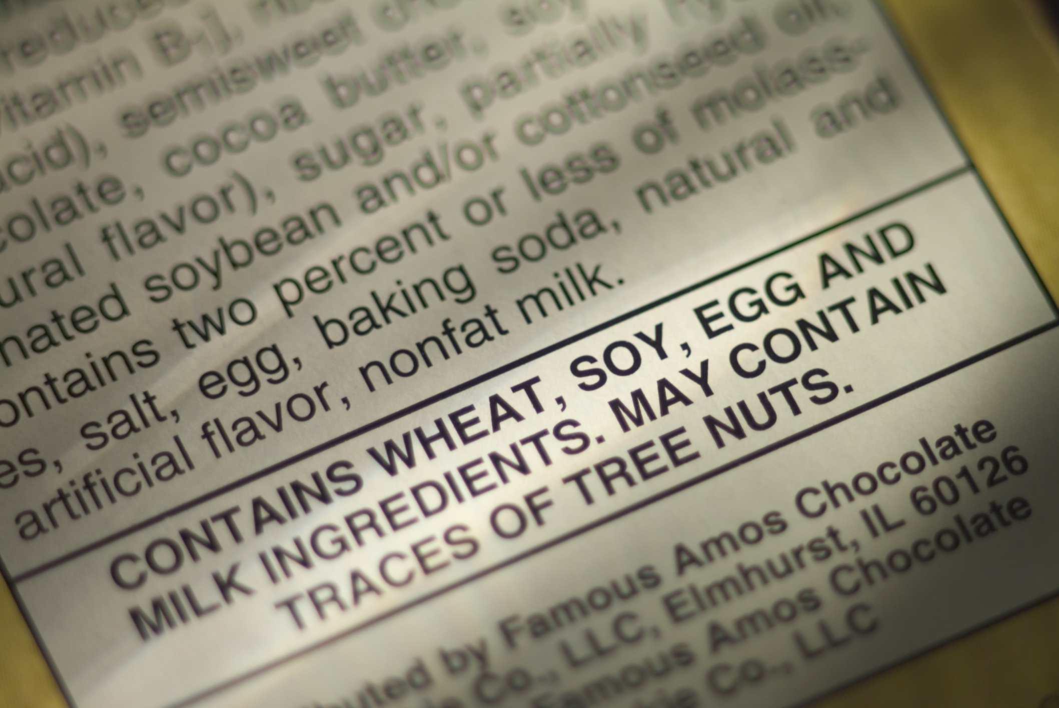 etiqueta de alimentos con advertencia de trigo
