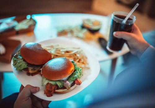 Hamburger, fries and drink, Gluttony, Food bingeing