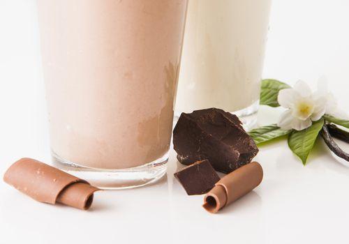 chocolate and vanilla shakes