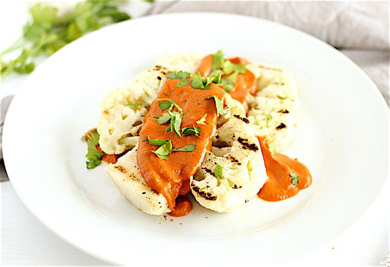 Cauliflower steaks with Romesco sauce