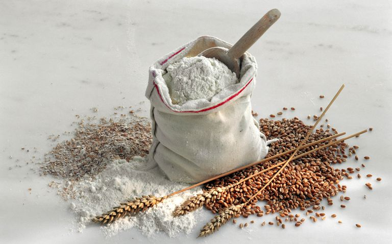 Sack of flour with various grains surrounding it