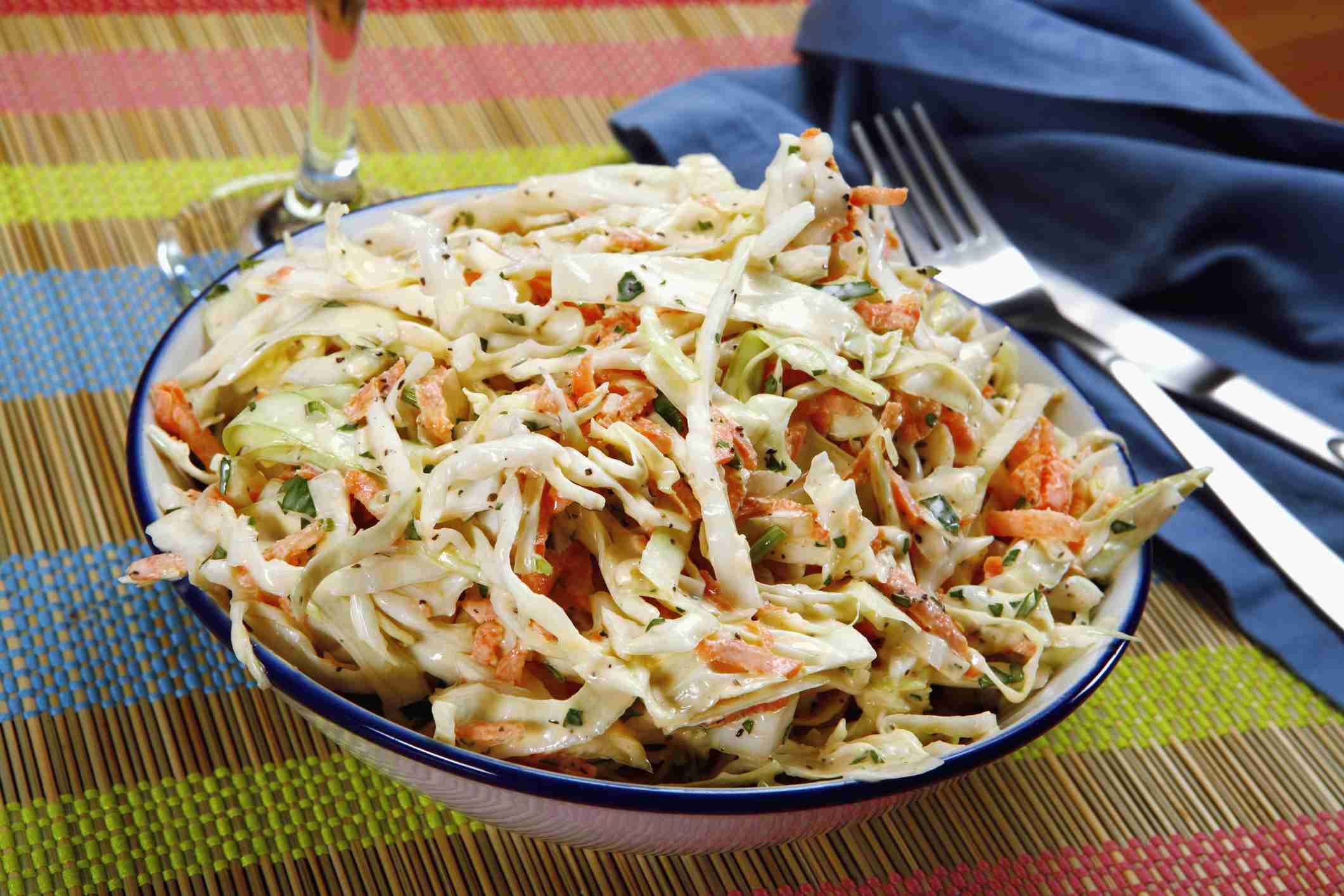 Bowl of coleslaw, elevated view, close up