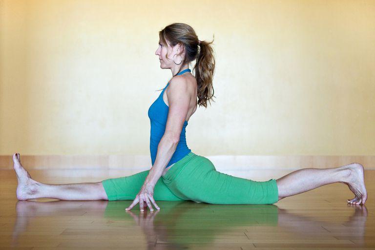woman in monkey pose (split)