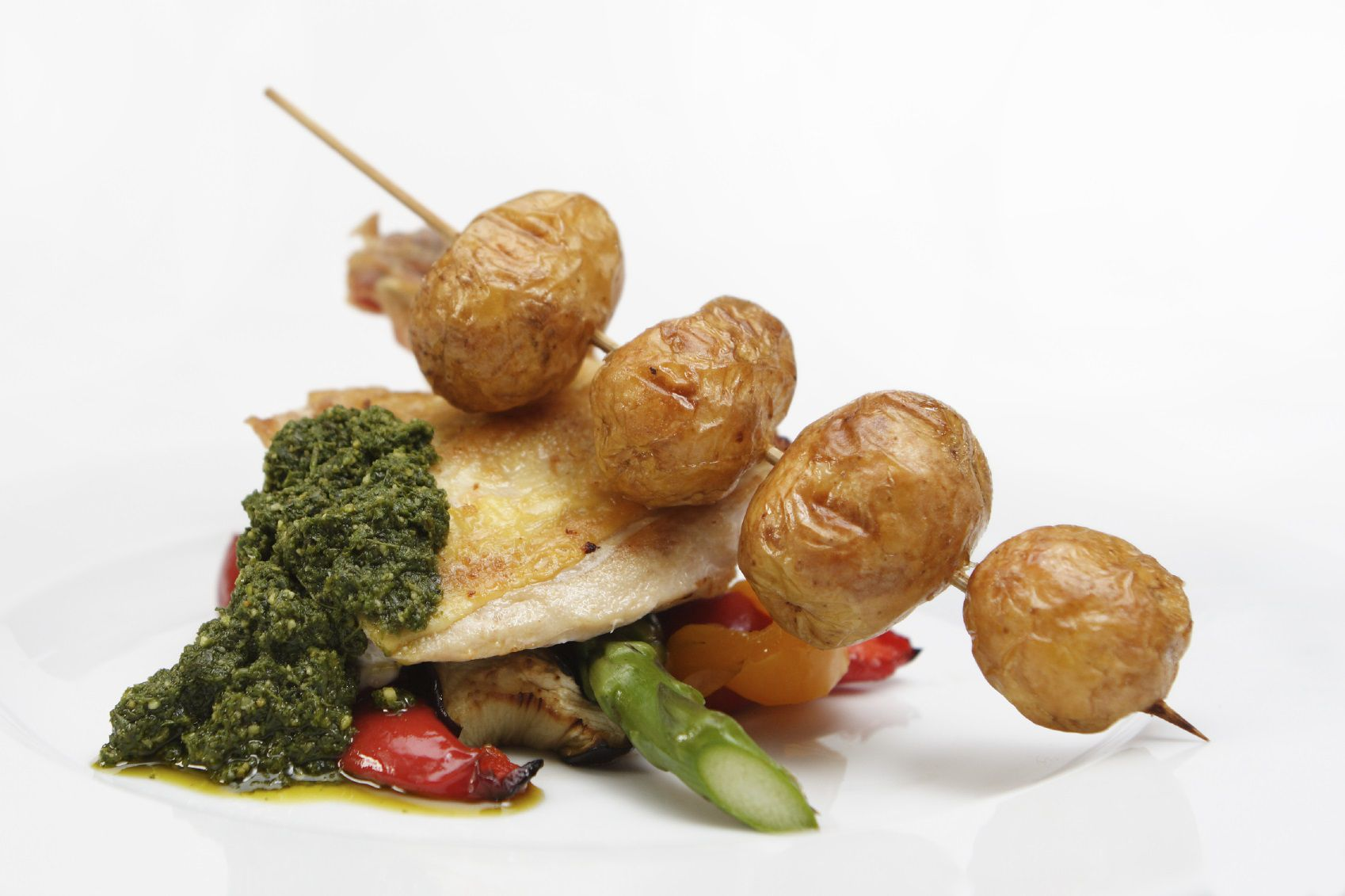 Chicken, vegetables, and pesto