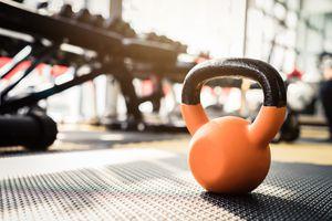 Kettlebell On Carpet At Gym