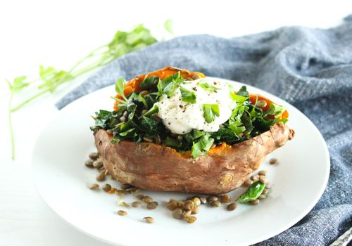 Kale and Lentil Stuffed Sweet Potato