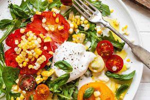 Arugula Salad with Tomatoes, Corn, and Burrata