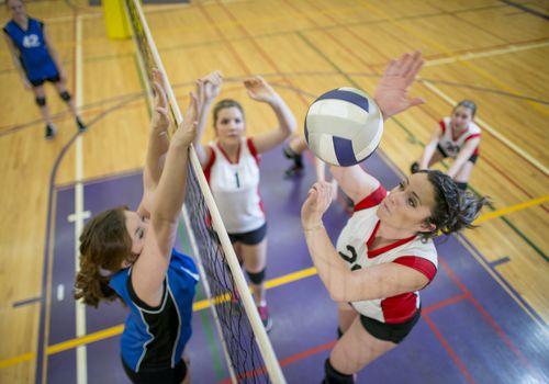 jugador a punto de lanzar voleibol sobre la red