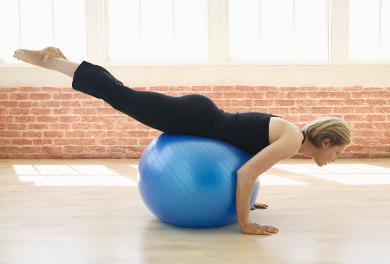 Reverse hip extension on exercise ball