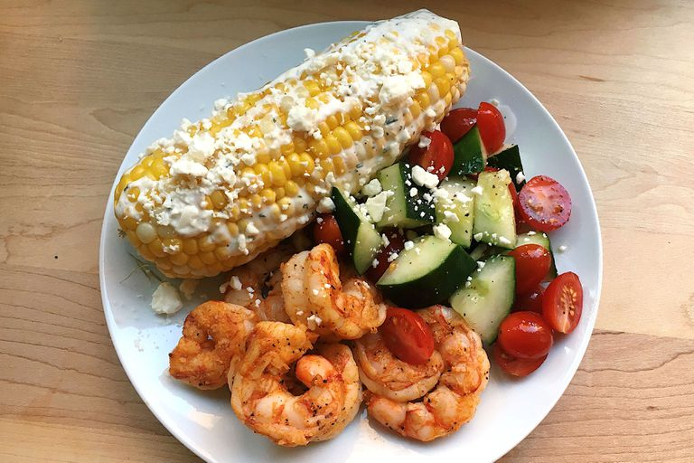 Spicy Grilled Shrimp With Mediterranean Street Corn
