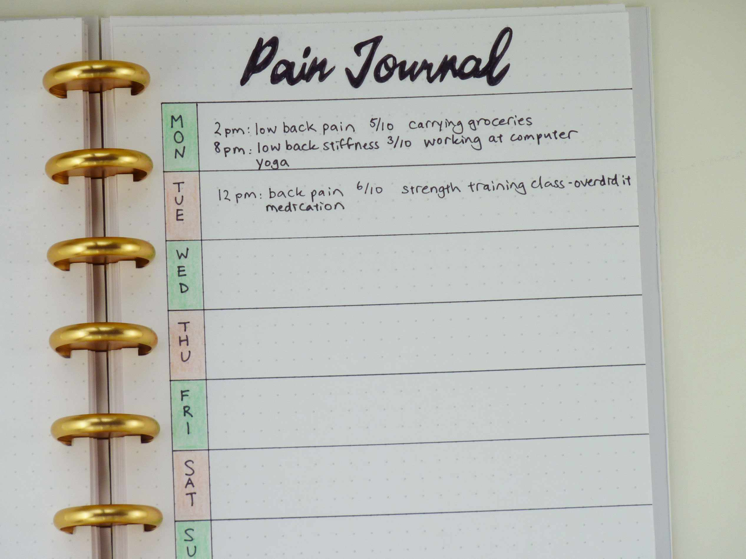 Usar un Bullet Journal como un diario de dolor