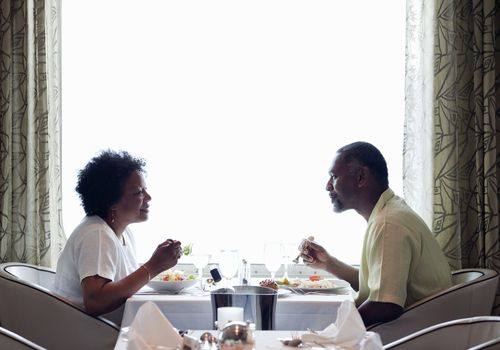 Couple eating dinner in a restaurant