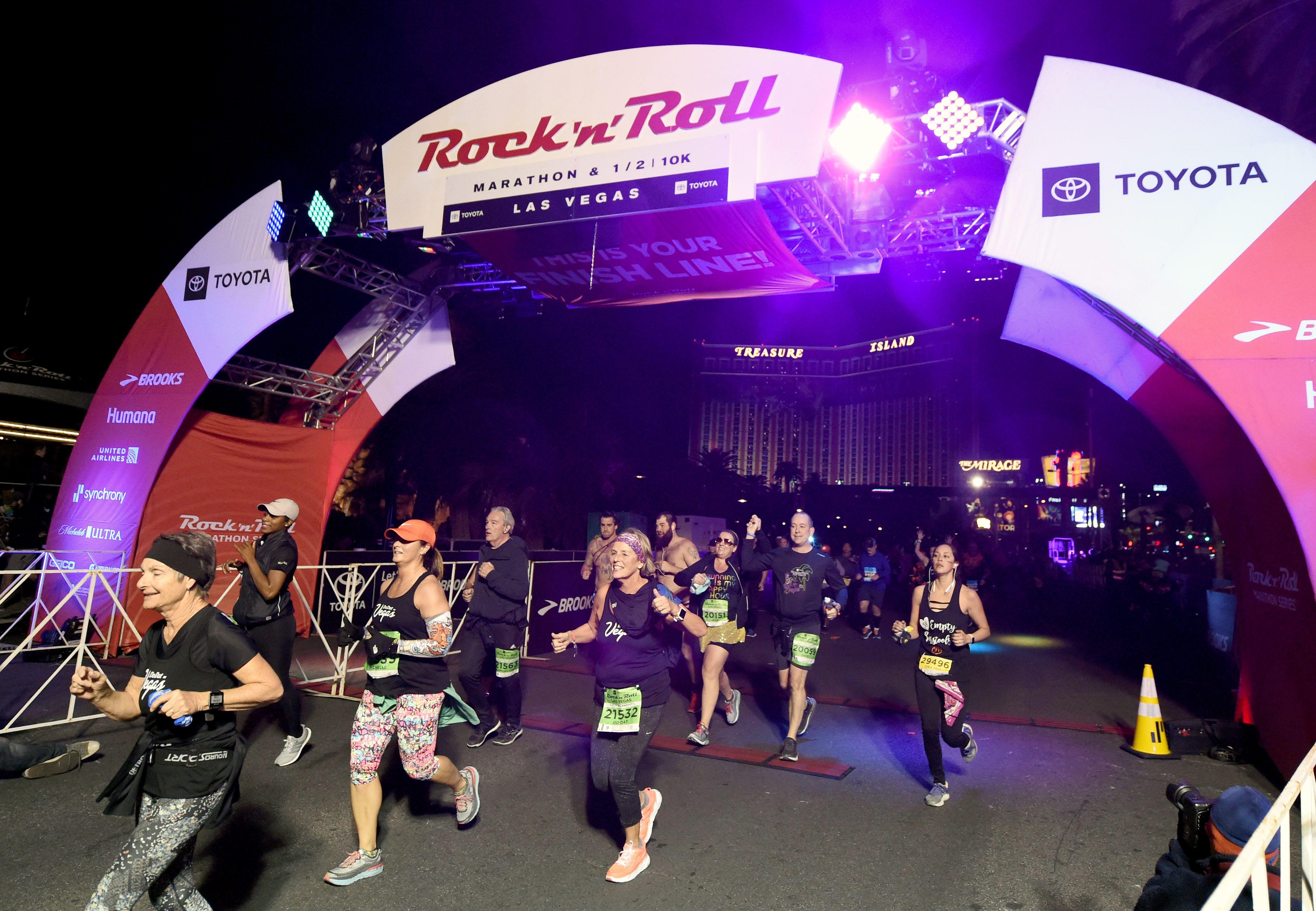 Línea de meta del maratón de Rock 'n' Roll Las Vegas