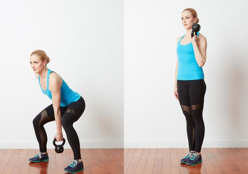 Side Squat with Kettlebell Curl