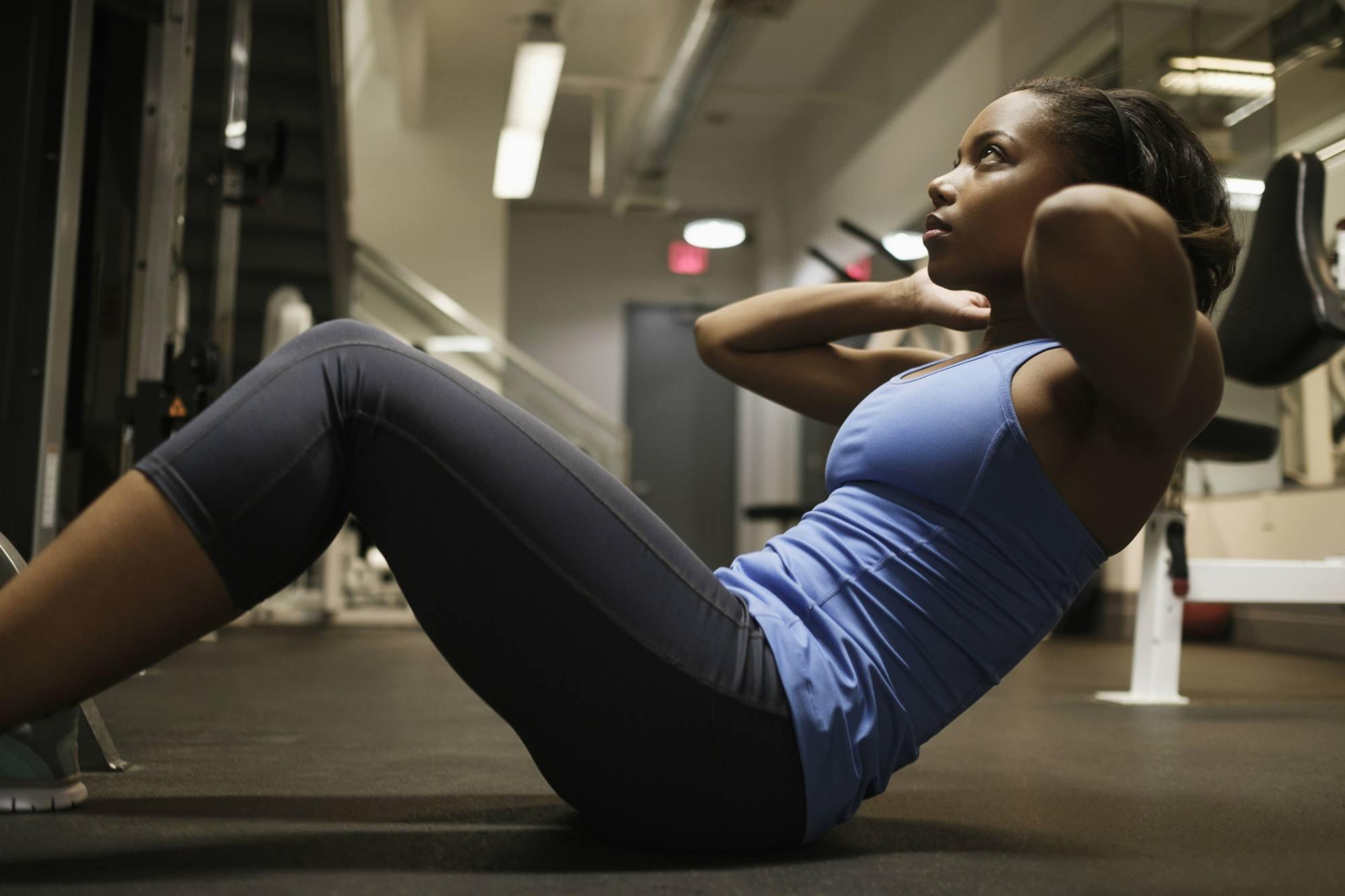 Woman doing core workout