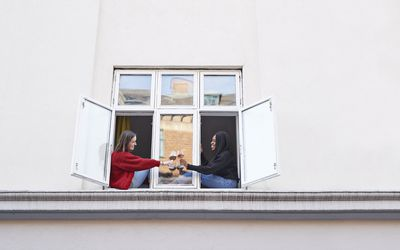Young female roommates toasting wine glasses outside apartment window