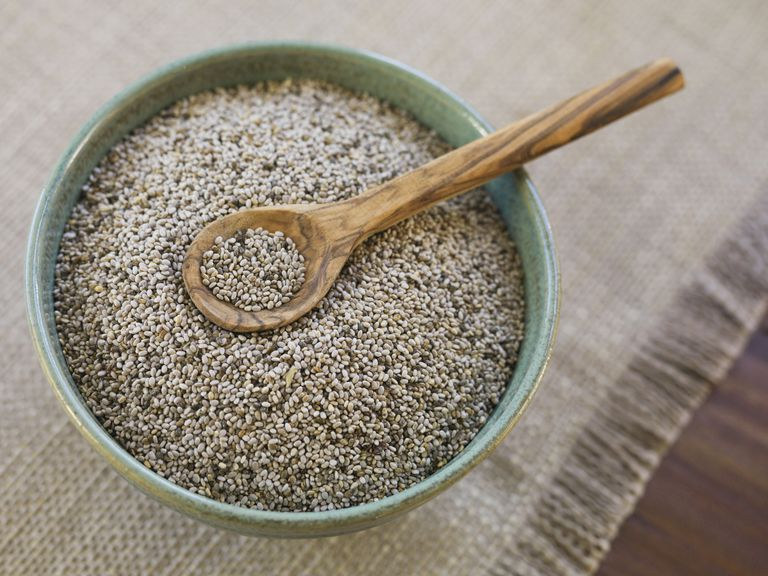 chia seeds in bowl with wooden spoon