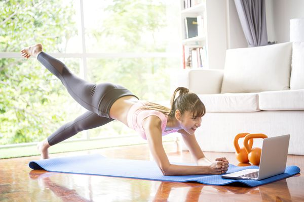Woman doing an online workout