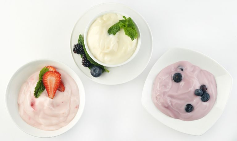 three dishes of gluten-free yogurt