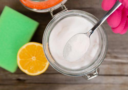 Baking soda in a kitchen jar