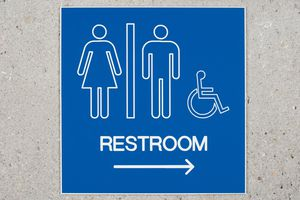 Restroom Sign and Arrow