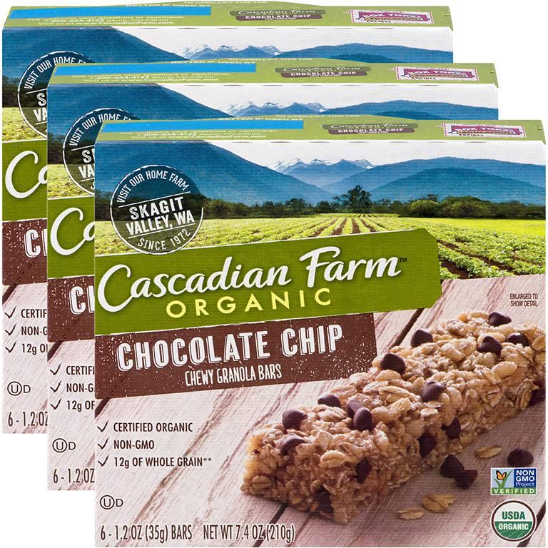 Barras de granola masticables con chispas de chocolate orgánico de Cascadian Farms
