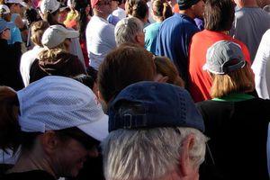 Walkers and runners await a race start