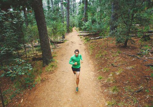 Hombre corriendo en el bosque