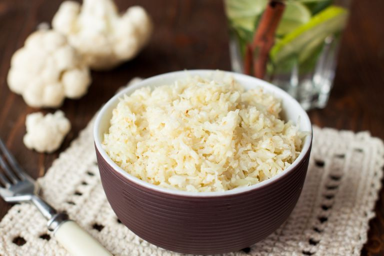 bowl of cauliflower rice on table