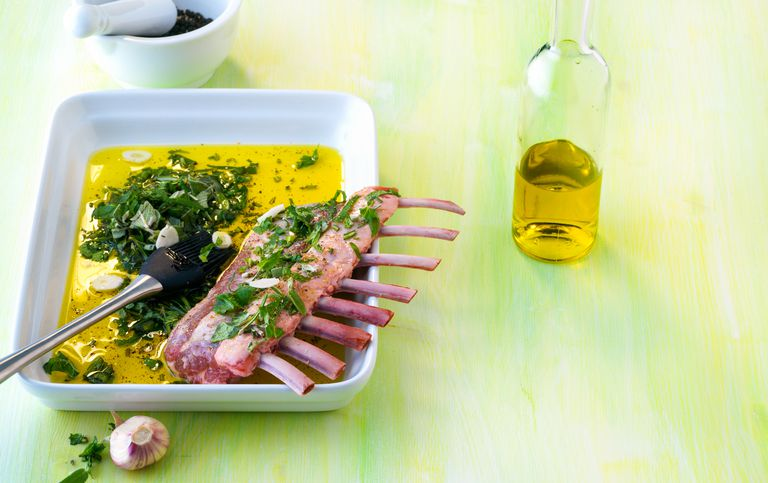 Rack of lamb in oil