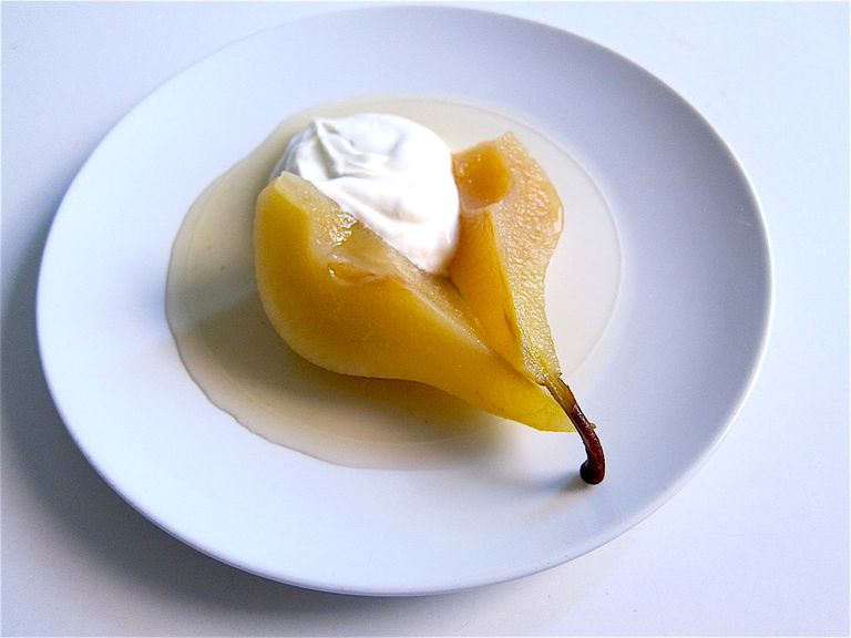 Honey Ginger Poached Pears