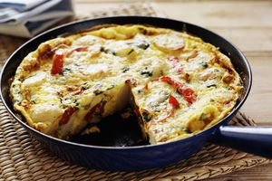 Pan of egg and vegetable quiche