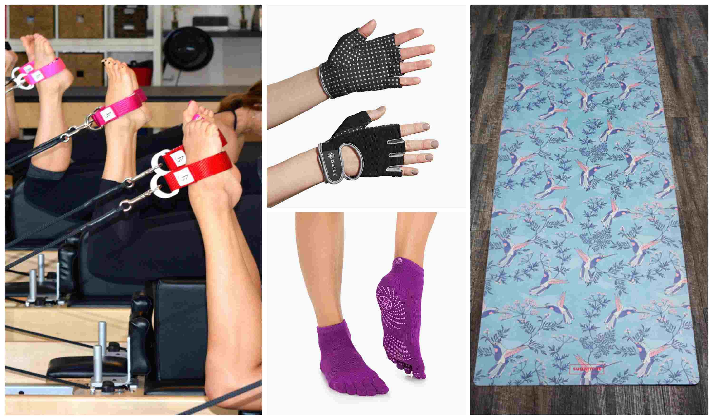 estera de yoga calcetines guantes y bucles de pilates