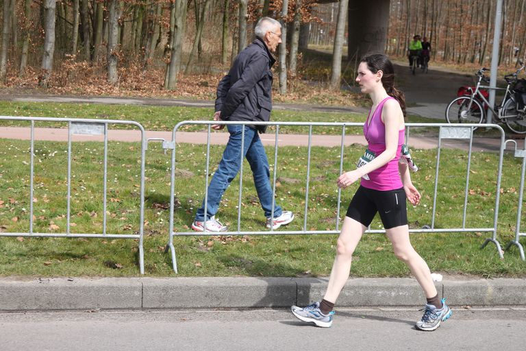Walking woman during marathon