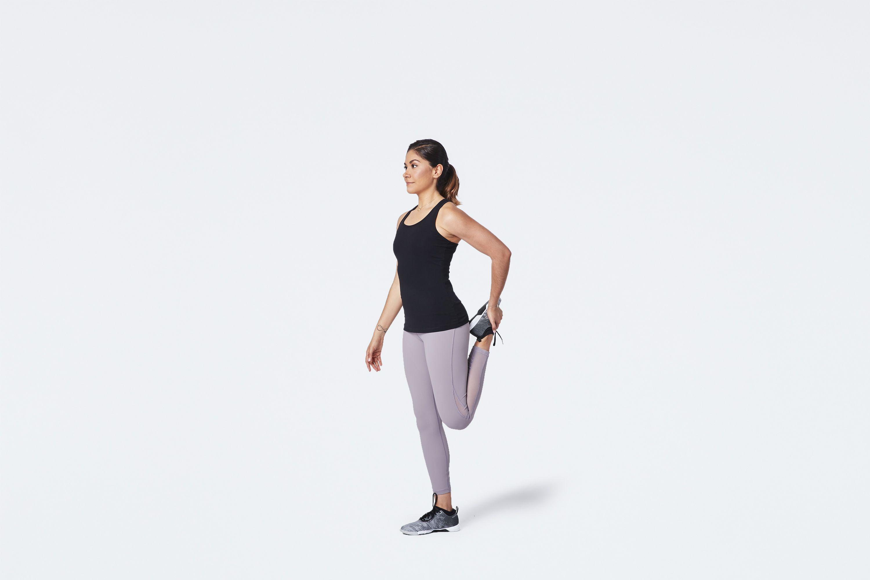 woman stretching quad