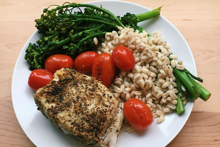 za'atar halibut with barley and broccolini