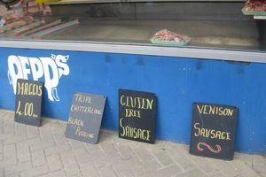 gluten-free sausage sign in England