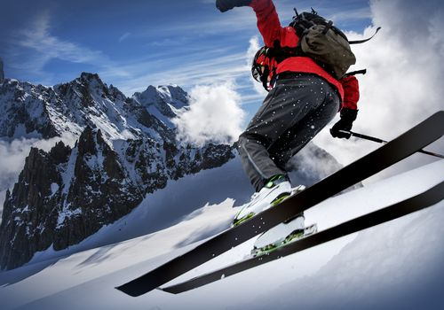 Skier in the Mont Blanc region
