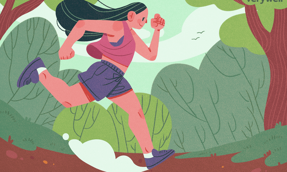 Illustration of woman running through the woods
