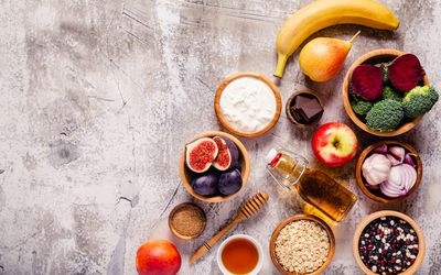 Products for healthy bowel. Natural food for gut. - stock photo